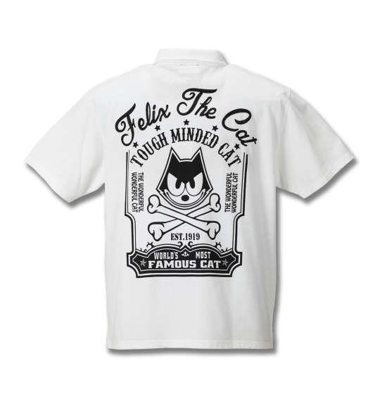 大きいサイズ メンズ FELIX THE CAT 鹿の子チェーン刺繍&プリント半袖ポロシャツ オフホワイト 1178-8571-1 3L 4L 5L 6L 8L