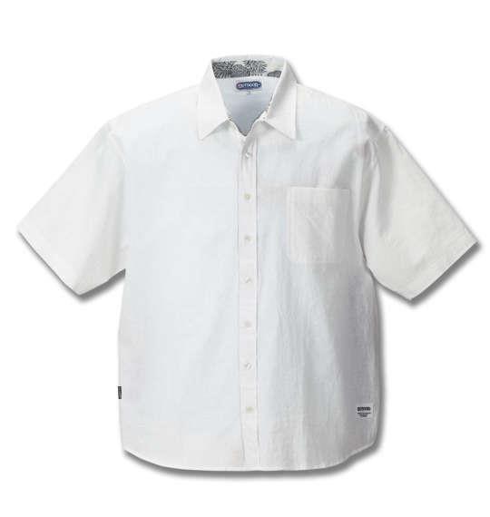 大きいサイズ メンズ OUTDOOR PRODUCTS 異素材使い 綿麻 半袖 シャツ 半袖シャツ オフホワイト 1157-8250-1 3L 4L 5L 6L 8L