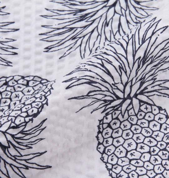 大きいサイズ メンズ OUTDOOR PRODUCTS パイナップル柄 リップル 半袖 シャツ 半袖シャツ オープンシャツ オフホワイト 1157-8251-1 3L 4L 5L 6L 8L