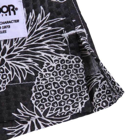 大きいサイズ メンズ OUTDOOR PRODUCTS パイナップル柄 リップル 半袖 シャツ 半袖シャツ オープンシャツ ブラック 1157-8251-2 3L 4L 5L 6L 8L
