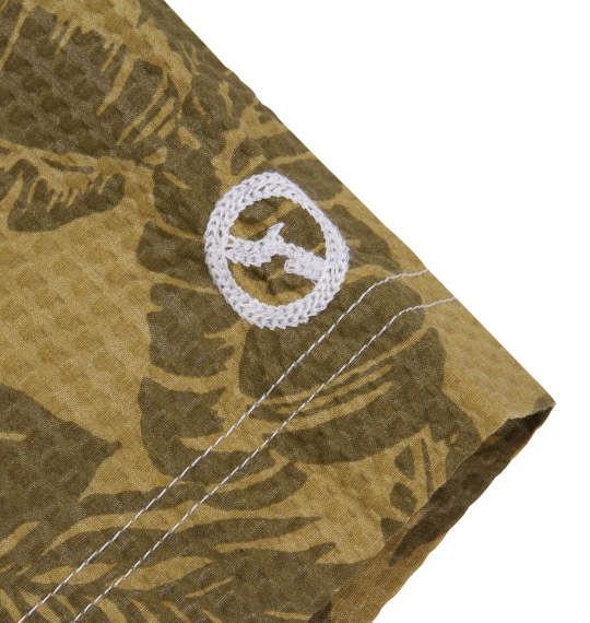 大きいサイズ メンズ OUTDOOR PRODUCTS リーフ柄 リップル 半袖 シャツ ボタンダウンシャツ 半袖シャツ マスタード 1157-8252-1 3L 4L 5L 6L 8L