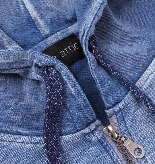 大きいサイズ メンズ in the attic 切替 カット デニム 半袖 パーカー フルジップパーカー サックス 1158-8533-2 3L 4L 5L 6L