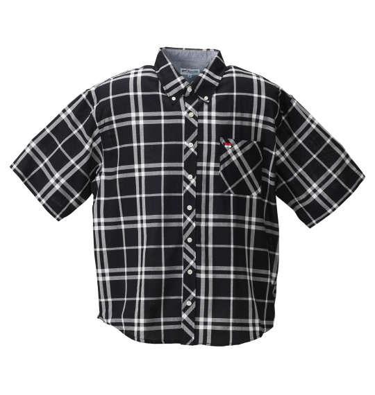 大きいサイズ メンズ H by FIGER パナマ チェック 半袖 シャツ ボタンダウンシャツ 半袖シャツ ブラック系 1167-8211-2 3L 4L 5L 6L 8L