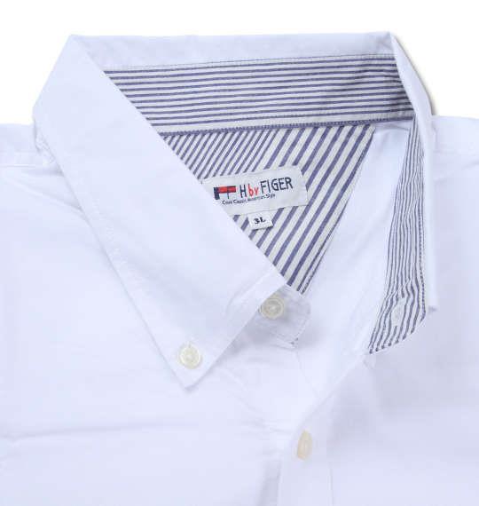 大きいサイズ メンズ H by FIGER オックス 半袖シャツ ボタンダウンシャツ 半袖シャツ ホワイト 1167-8213-1 3L 4L 5L 6L 8L