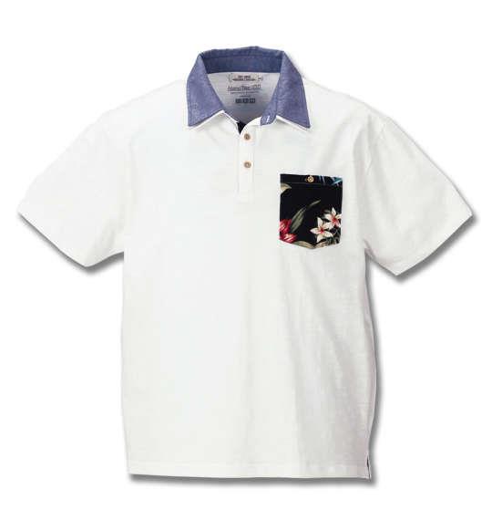 大きいサイズ メンズ Timely Warning スラブ 天竺 花柄 ポケット 半袖 ポロシャツ オフホワイト 1158-8551-1 3L 4L 5L 6L