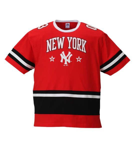 大きいサイズ メンズ Majestic フットボール半袖Tシャツ レッド 1178-8530-1 3L 4L 5L 6L