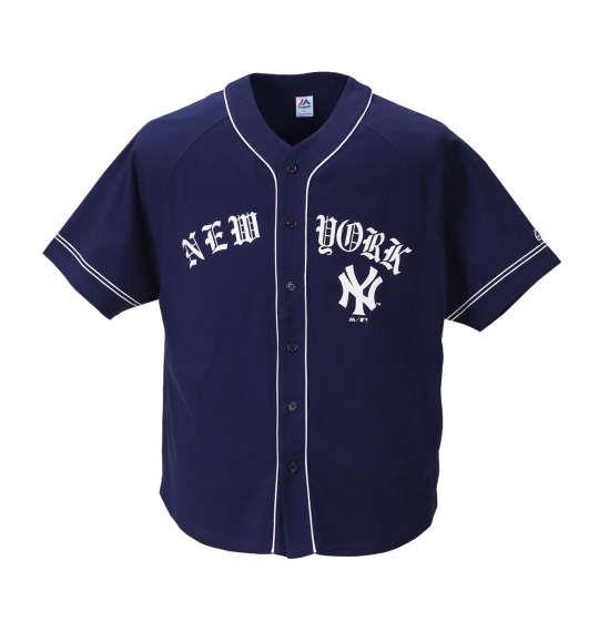 大きいサイズ メンズ Majestic NEW YORKベースボールシャツ ネイビー 1178-8533-1 3L 4L 5L 6L