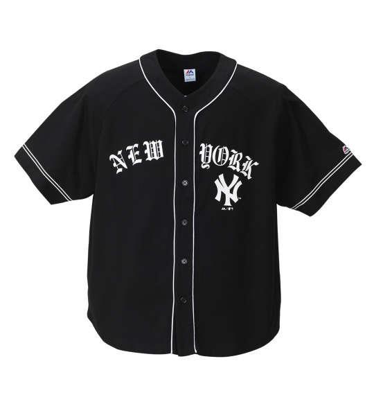大きいサイズ メンズ Majestic NEW YORKベースボールシャツ ブラック 1178-8533-2 3L 4L 5L 6L