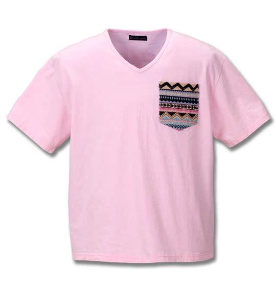 大きいサイズ メンズ in the attic 総柄 ポケット パウダー加工 半袖 Vネック Tシャツ 半袖Tシャツ ピンク 1158-8530-1 3L 4L 5L 6L