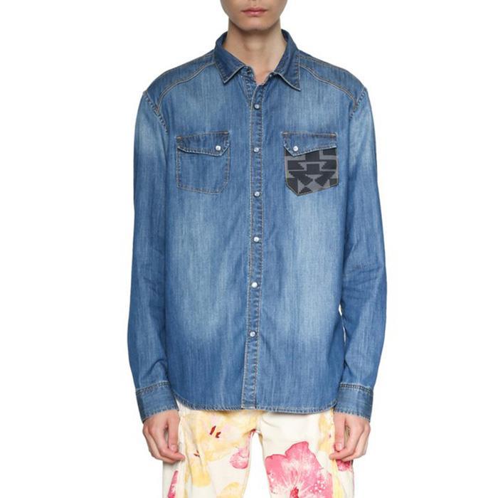 大きいサイズ メンズ DESIGUAL (デシグアル) 胸ポケット切替長袖シャツ 18smcd02