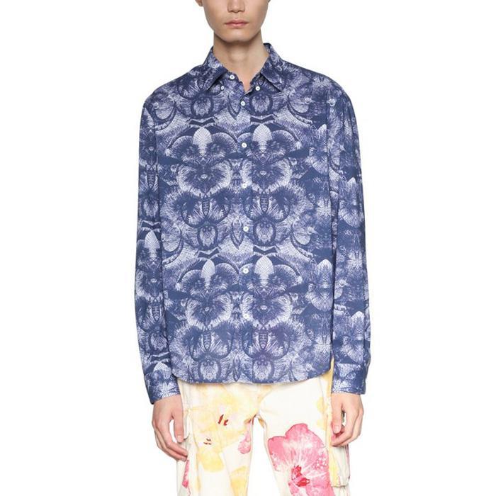 大きいサイズ メンズ DESIGUAL (デシグアル) 長袖総柄プリントシャツ 18smcw46
