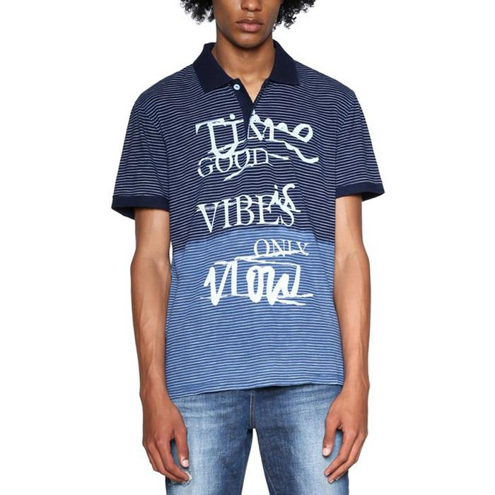 大きいサイズ メンズ DESIGUAL (デシグアル) ウエスト切替プリント半袖ポロシャツ 18smlk12