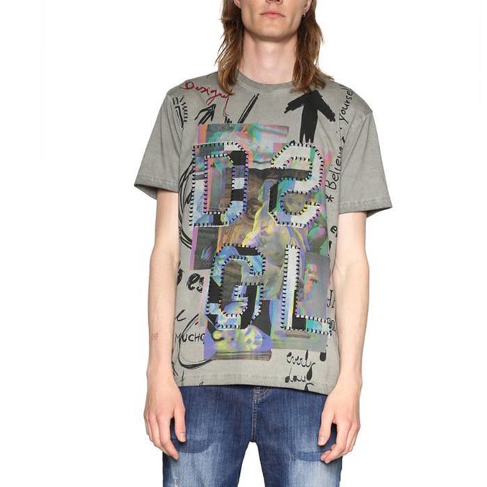 大きいサイズ メンズ DESIGUAL (デシグアル) 半袖プリントTシャツ 18smtk20
