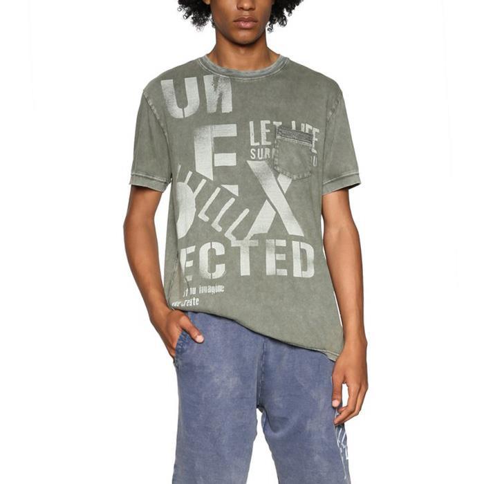 大きいサイズ メンズ DESIGUAL (デシグアル) 半袖プリントTシャツ 18smtk28