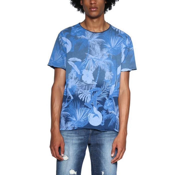 大きいサイズ メンズ DESIGUAL (デシグアル) 半袖総柄プリントTシャツ 18smtk43