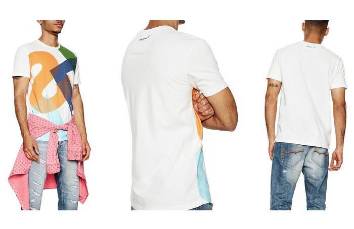 大きいサイズ メンズ DESIGUAL (デシグアル) 大柄ロゴプリント半袖Tシャツ 18smtk62