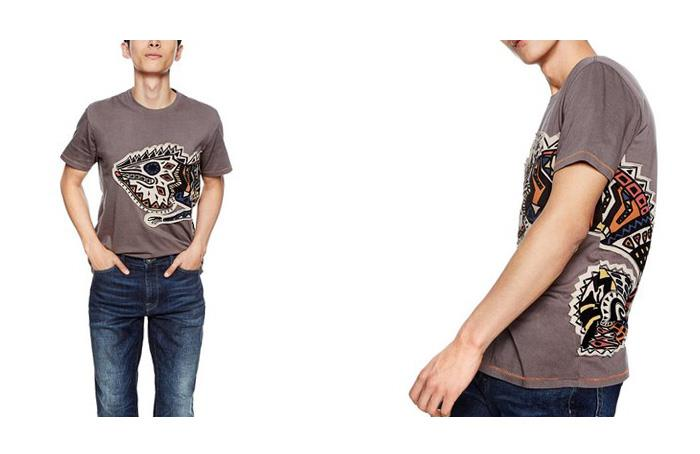 大きいサイズ メンズ DESIGUAL (デシグアル) 大柄ワッペン半袖Tシャツ 18smtk68