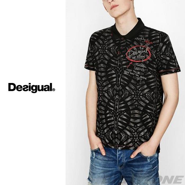 大きいサイズ メンズ DESIGUAL (デシグアル) プリント半袖ポロシャツ 74l17a5