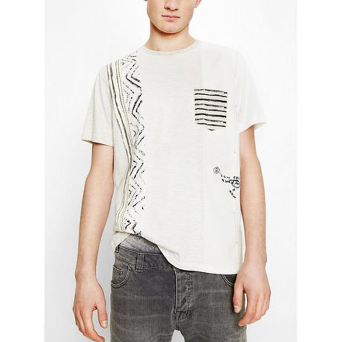 大きいサイズ メンズ DESIGUAL (デシグアル) 切替ポケット付き半袖Tシャツ 74t14a6