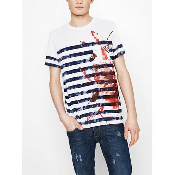 大きいサイズ メンズ DESIGUAL (デシグアル) プリントポケット付き半袖Tシャツ 74t14e2