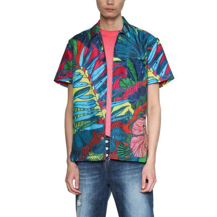 大きいサイズ メンズ DESIGUAL (デシグアル) 総柄プリントシャツ開襟半袖シャツ 18smcw51