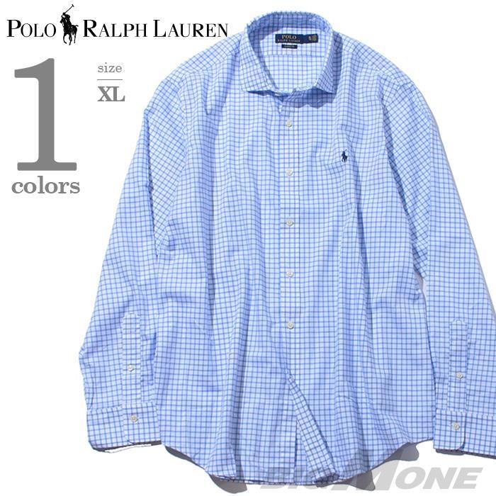 大きいサイズ メンズ POLO RALPH LAUREN ポロ ラルフローレン 長袖 シャツ 格子柄 長袖シャツ サックス XL USA 直輸入 710698508001