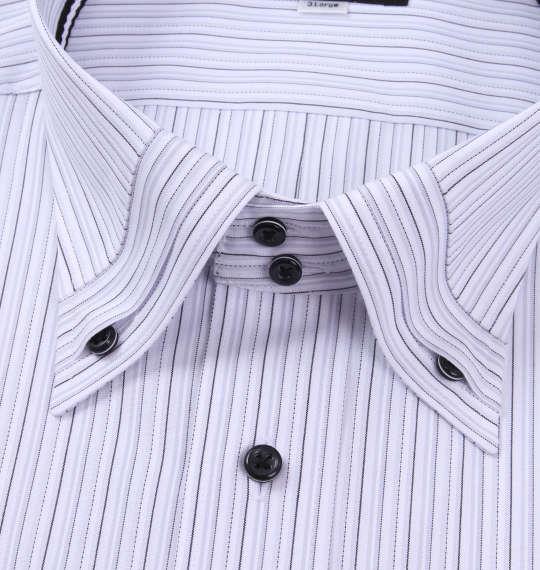 大きいサイズ メンズ HIROKO KOSHINO HOMME ドゥエマイターB.D半袖シャツ ホワイト × グレー 1177-8255-1 3L 4L 5L 6L 7L 8L 9L