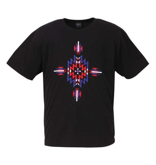 大きいサイズ メンズ SHELTY ブロック 刺繍 半袖 Tシャツ 半袖Tシャツ ブラック 1158-8264-1 3L 4L 5L 6L 8L