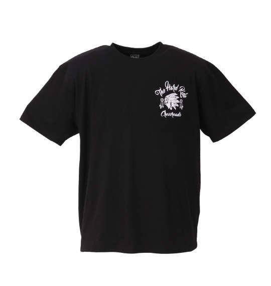 大きいサイズ メンズ SHELTY チェーン 刺繍 + プリント 半袖 Tシャツ 半袖Tシャツ ブラック 1158-8265-1 3L 4L 5L 6L 8L