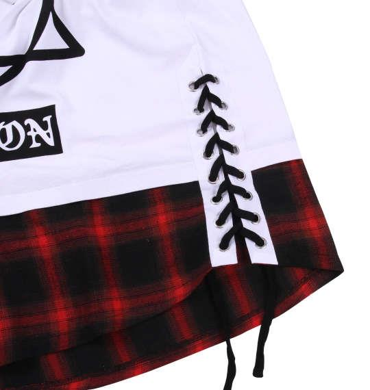大きいサイズ メンズ SHOCK NINE ロング丈 裾 チェック 切替 半袖 Tシャツ 半袖Tシャツ ホワイト 1158-8500-1 3L 4L 5L 6L