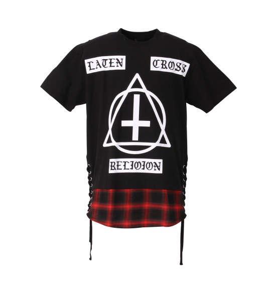 大きいサイズ メンズ SHOCK NINE ロング丈 裾 チェック 切替 半袖 Tシャツ 半袖Tシャツ ブラック 1158-8500-2 3L 4L 5L 6L