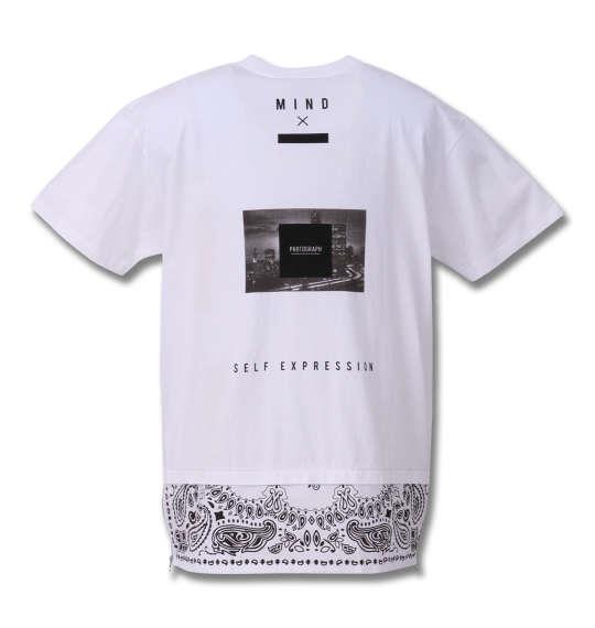 大きいサイズ メンズ SHOCK NINE ロング丈 裾 ペイズリー 切替 半袖 Tシャツ 半袖Tシャツ ホワイト 1158-8501-1 3L 4L 5L 6L