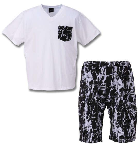 大きいサイズ メンズ SHOCK NINE 半袖Tシャツ + ハーフパンツ 上下セット セットアップ Tシャツ パンツ 短パン ホワイト × ブラック 1158-8502-1 3L 4L 5L 6L