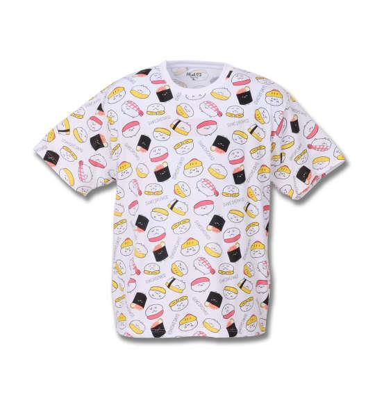 大きいサイズ メンズ おしゅしだよ 総柄半袖Tシャツ ホワイト 1178-8256-1 3L 4L 5L 6L