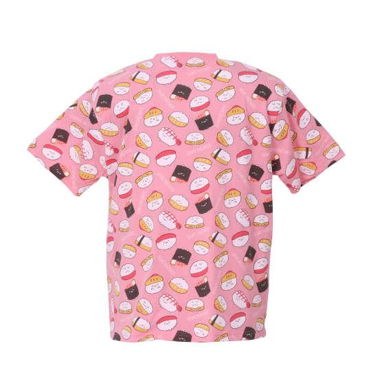 大きいサイズ メンズ おしゅしだよ 総柄半袖Tシャツ ピンク 1178-8256-2 3L 4L 5L 6L