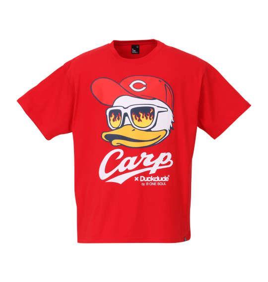 大きいサイズ メンズ b-one-soul 広島東洋カープ × DUCK DUDE FACE半袖Tシャツ レッド 1178-8545-1 3L 4L 5L 6L