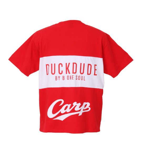 大きいサイズ メンズ b-one-soul 広島東洋カープ × DUCK DUDEパネル切替半袖Tシャツ レッド 1178-8547-1 3L 4L 5L 6L
