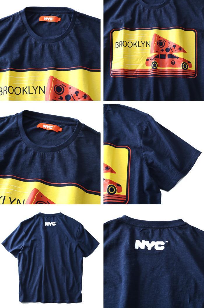 タダ割 大きいサイズ メンズ NYC プリント半袖 Tシャツ 半袖Tシャツ azt-1802110