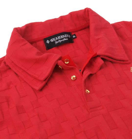 大きいサイズ メンズ GLADIATE ジャガード 半袖 ポロシャツ レッド 1158-8507-1 3L 4L 5L 6L
