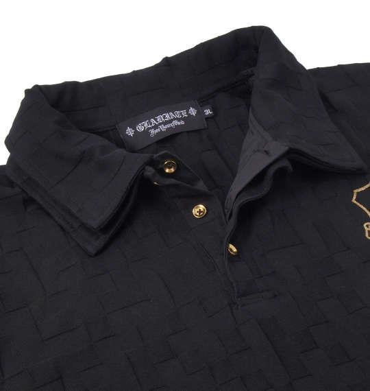 大きいサイズ メンズ GLADIATE ジャガード 半袖 ポロシャツ ブラック 1158-8507-2 3L 4L 5L 6L