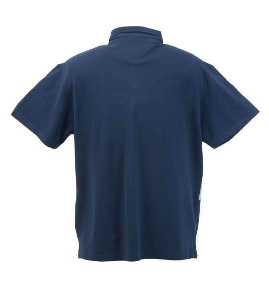 大きいサイズ メンズ Timely Warning 鹿の子 バイアス 切替 半袖 ポロシャツ インディゴ 1158-8553-1 3L 4L 5L 6L