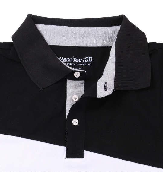 大きいサイズ メンズ Timely Warning 鹿の子 バイアス 切替 半袖 ポロシャツ ブラック 1158-8553-2 3L 4L 5L 6L