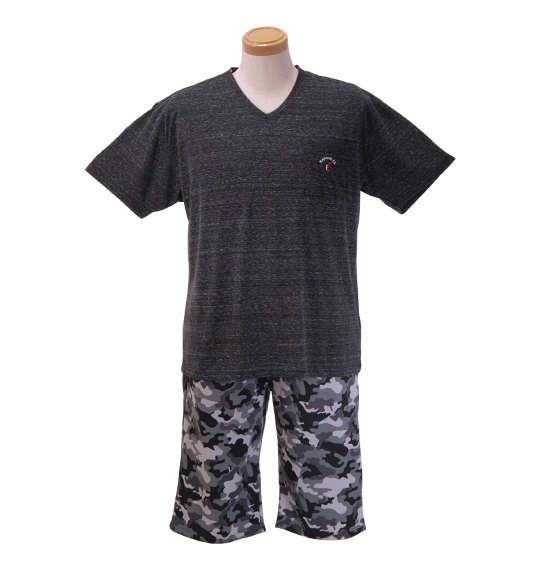 大きいサイズ メンズ KANGOL EXTRA COMFORT 杢 天竺 半袖 Vネック Tシャツ + ミニ 裏毛 カモフラ パンツ 上下セット セットアップ ブラック × チャコール系 1159-8210-2 3L 4L 5L 6L 8L