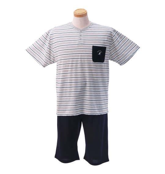 大きいサイズ メンズ KANGOL EXTRA COMFORT ジャガード ボーダー 半袖 Tシャツ + 鹿の子 パンツ 上下セット セットアップ モクグレー × ネイビー 1159-8211-1 3L 4L 5L 6L 8L