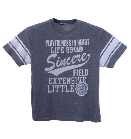 大きいサイズ メンズ PREPS 半袖 Tシャツ 半袖Tシャツ ネイビー杢 1158-8595-1 3L 4L 5L 6L 8L