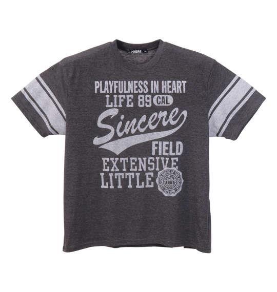 大きいサイズ メンズ PREPS 半袖 Tシャツ 半袖Tシャツ チャコール杢 1158-8595-2 3L 4L 5L 6L 8L