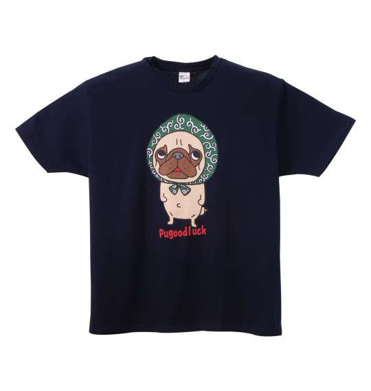大きいサイズ メンズ Pugoodluck 半袖 Tシャツ 半袖Tシャツ ネイビー 1168-8205-1 3L 4L 5L 6L 8L