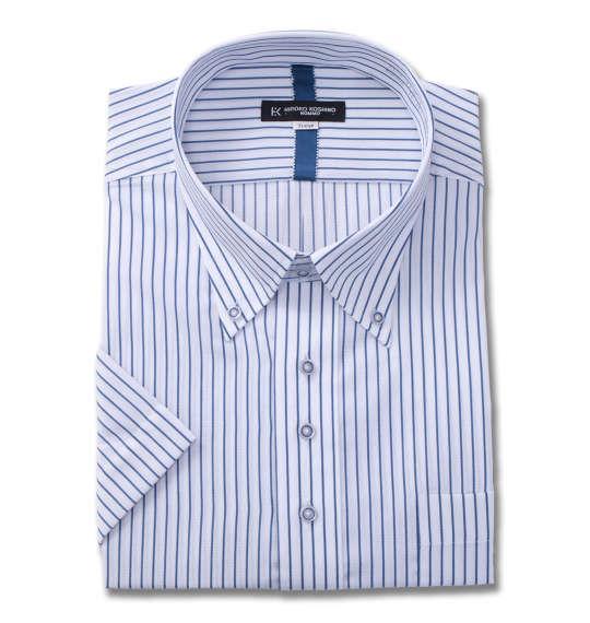 大きいサイズ メンズ HIROKO KOSHINO HOMME B.D半袖シャツ ホワイト × ネイビー 1177-8256-1 3L 4L 5L 6L 7L 8L