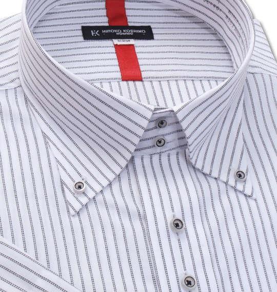 大きいサイズ メンズ HIROKO KOSHINO HOMME ドゥエB.D半袖シャツ ホワイト × ブラック 1177-8257-1 3L 4L 5L 6L 7L 8L 9L