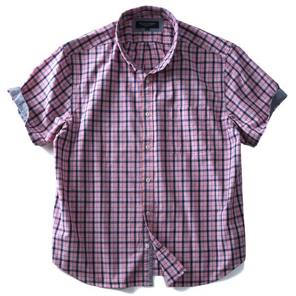 大きいサイズ メンズ SARTORIA BELLINI シャツ テンセル混 チェック柄 半袖 ボタンダウンシャツ azsh-180241